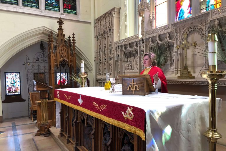 Bishop Susan Bell renewed the vows of nearly 100 clergy and licensed lay workers during an online service on Holy Tuesday streamed live from Christ's Church Cathedral in Hamilton.